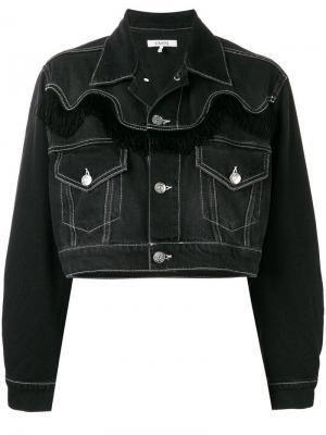 Укороченная джинсовая куртка Ganni. Цвет: черный