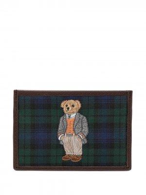 Картхолдер в клетку тартан с вышивкой Polo Ralph Lauren. Цвет: синий