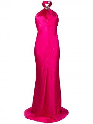 Вечернее платье с вырезом халтер Azzaro. Цвет: розовый