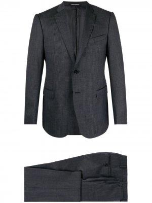 Клетчатый костюм с однобортным пиджаком Emporio Armani. Цвет: серый