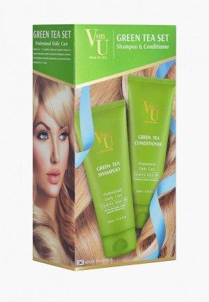 Набор для ухода за волосами Von U Von-U шампунь 200 мл + кондиционер с зеленым чаем. Цвет: зеленый