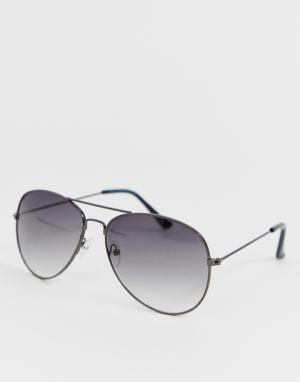 Черные солнцезащитные очки-авиаторы -Серебряный New Look