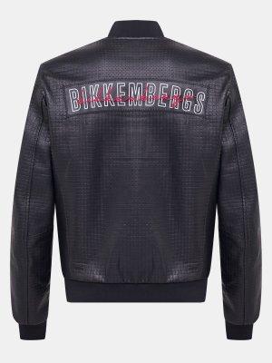 Кожаная куртка Bikkembergs. Цвет: chernyy