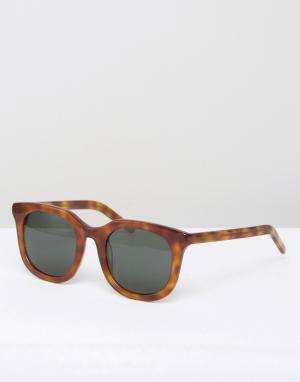 Солнцезащитные очки в квадратной черепаховой оправе Ace Han Kjobenhavn. Цвет: коричневый