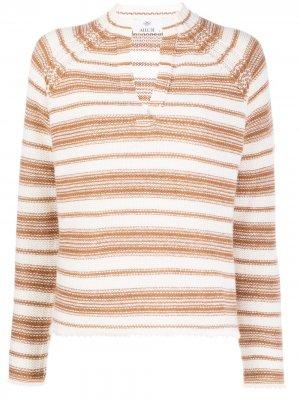 Полосатый свитер с V-образным вырезом Allude. Цвет: белый