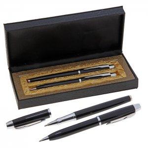 Ручки подарочные, 2 шт.: капиллярная, шариковая поворотная, в кожзам футляре, Calligrata
