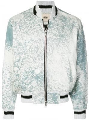 Куртка-бомбер с эффектом разбрызганной краски Herman Market. Цвет: синий