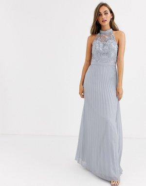 Серое платье макси с кружевом и плиссированной юбкой -Серый Chi London