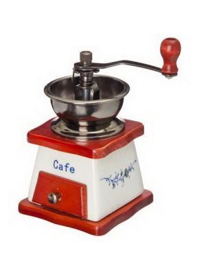 Кофемолка с керамическим основанием, металл, дерево, 10x10x17,5см Vetta. Цвет: белый