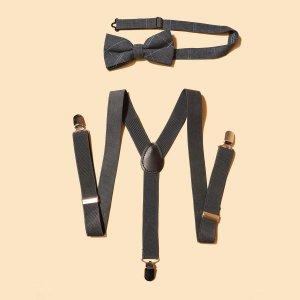 Мужские минималистичные подтяжки и бант SHEIN. Цвет: темно-серый