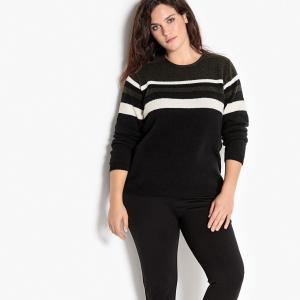 Пуловер с круглым вырезом из тонкого трикотажа CASTALUNA. Цвет: черный/ хаки