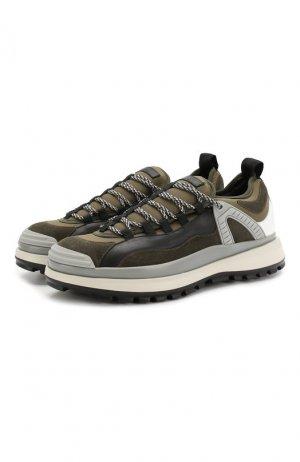 Кожаные кроссовки Giorgio Armani. Цвет: хаки