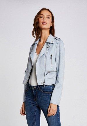 Куртка кожаная Morgan. Цвет: голубой