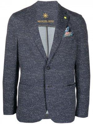 Пиджак с платком Manuel Ritz. Цвет: синий