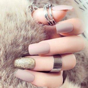Обычные и блестящие накладные ногти 24шт с лентой SHEIN. Цвет: многоцветный