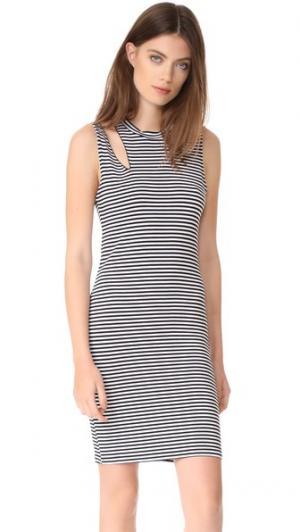 Платье без рукавов в полоску Slice LNA. Цвет: черный/белая полоска