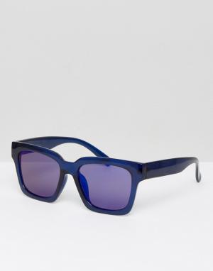 Солнцезащитные очки в квадратной оправе Exit Weekday. Цвет: синий