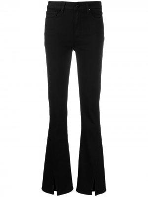 Расклешенные джинсы с разрезами PAIGE. Цвет: черный