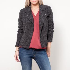 Куртка укороченная прямого покроя LE TEMPS DES CERISES. Цвет: черный меланж