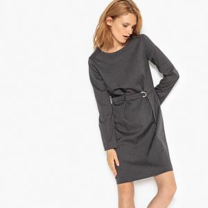 Платье из фланели на молнии сзади La Redoute Collections. Цвет  серый  меланж,хаки 408677113ec