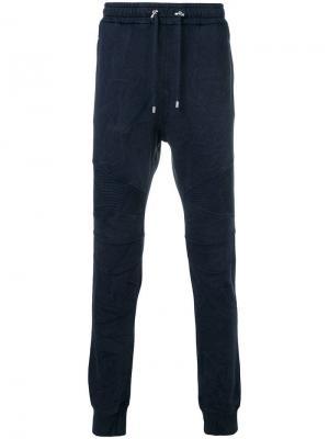 Байкерские спортивные брюки Balmain. Цвет: синий