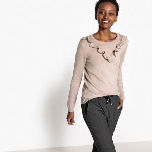 Пуловер с круглым вырезом из тонкого трикотажа BEST MOUNTAIN. Цвет: бежевый меланж