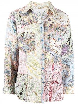 Джинсовая куртка с узором пейсли Etro. Цвет: нейтральные цвета