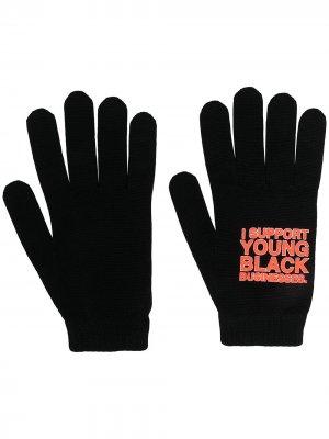Перчатки с надписью Off-White. Цвет: черный
