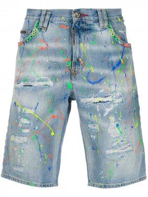 Джинсовые шорты с эффектом потертости Philipp Plein. Цвет: синий