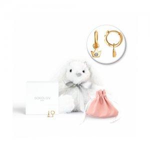 Серьги из золота с бриллиантами мягкой игрушкой «Заяц» SOKOLOV Diamonds