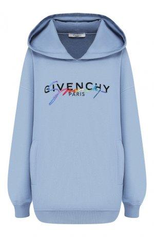 Хлопковое худи Givenchy. Цвет: голубой