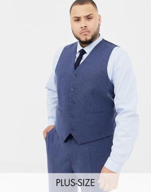 Приталенный жилет из донегаля с добавлением шерсти Plus-Темно-синий Gianni Feraud