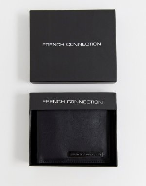 Черный бумажник с металлической планкой French Connection