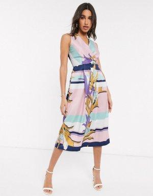 Платье миди с запахом и платочным принтом Closet-Розовый цвет Closet London