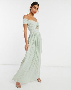 Шалфейно-зеленое платье макси с чашечками для груди большого размера Premium-Зеленый ASOS DESIGN