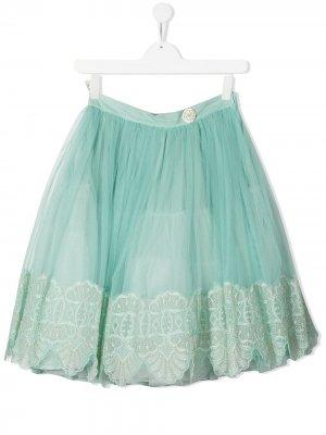 Пышная юбка с вышивкой ELIE SAAB JUNIOR. Цвет: зеленый