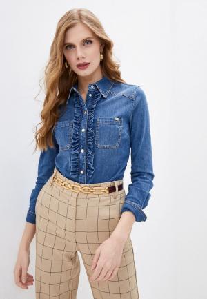 Рубашка джинсовая Elisabetta Franchi. Цвет: синий