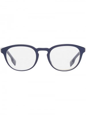 Очки в круглой оправе с полоской Icon Stripe Burberry Eyewear. Цвет: синий