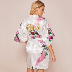 Атласный халат с поясом и цветочным принтом SHEIN. Цвет: белые
