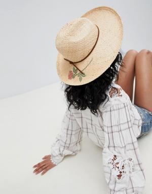 Соломенная шляпа-федора с принтом розы -Бежевый Brixton
