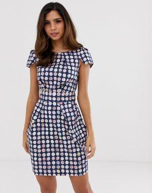 Платье-футляр в клеточку Closet-Темно-синий Closet London