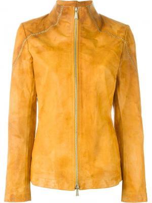 Куртка с потертой отделкой 10Sei0otto. Цвет: жёлтый и оранжевый