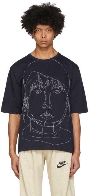 Navy Stitched Starcut II T-Shirt Bless. Цвет: darkblue