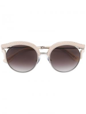 Солнцезащитные очки в круглой оправе Jimmy Choo Eyewear. Цвет: телесный