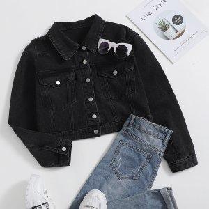 Рваная джинсовая куртка размера плюс на пуговицах SHEIN. Цвет: чёрный