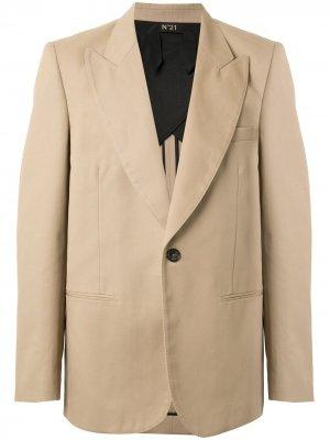 Пиджак с заостренными лацканами Nº21. Цвет: коричневый