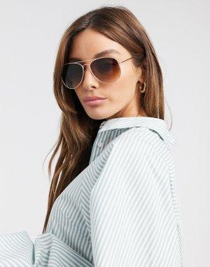 Солнцезащитные очки-авиаторы в золотистой оправе -Золотой Vero Moda