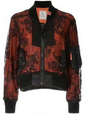 Кружевная куртка-бомбер Maison Mihara Yasuhiro. Цвет: черный