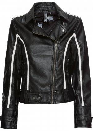 Куртка байкерская из материала под кожу bonprix. Цвет: черный