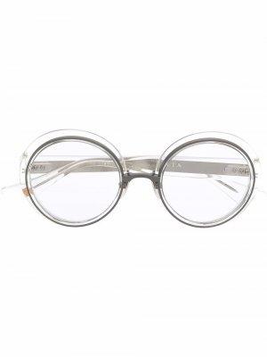 Очки в круглой прозрачной оправе Dita Eyewear. Цвет: белый